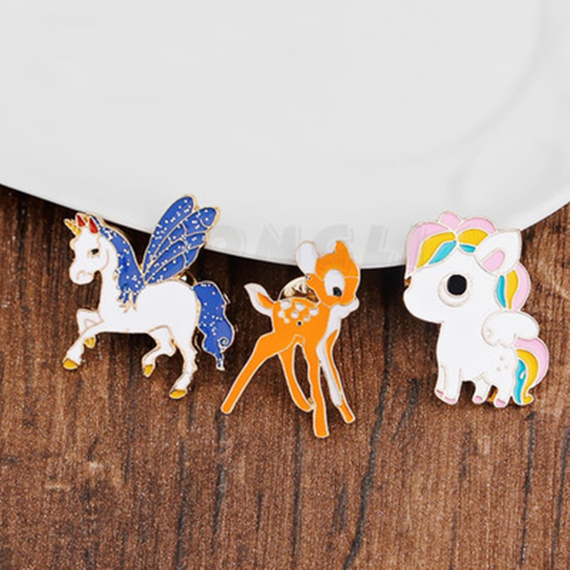 customized metal cartoon animal badge zinc alloy multi-color baking paint brooch seal melting casting gold plated brooch