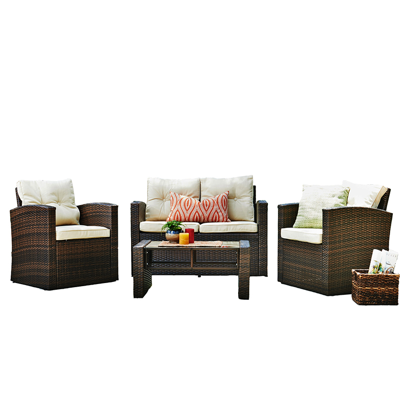 Rattan 4pcs Outdoor wicker Conversation Set with Patio Weather Resistant Cushions and Tempered Glass Tabletop (Dark Brown)