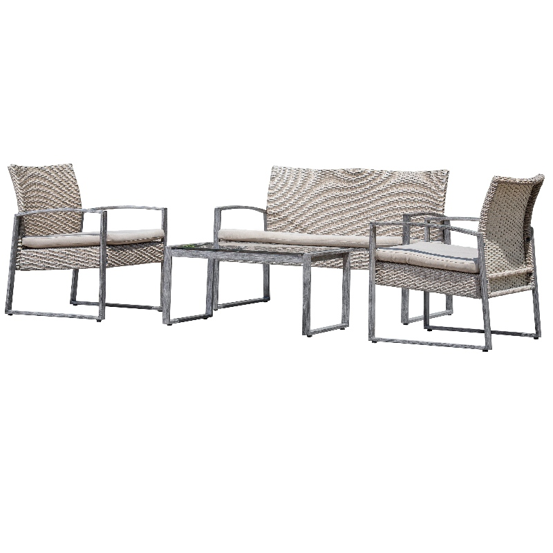 4 Piece Outdoor Conversation Set Patio Garden Pool Lawn Rattan Wicker Loveseat Sofa Cushioned Seat & Glass Top Coffee Table Furniture Set