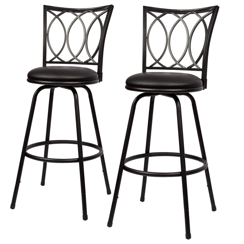 Bar Stool Adjustable Height Swivel  PU Leather Padded Bar Chair Black Set of 2