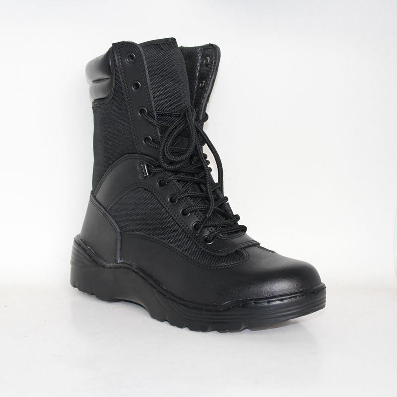 High Ankle Black PU Coated Leather Upper Army Tactical Boot