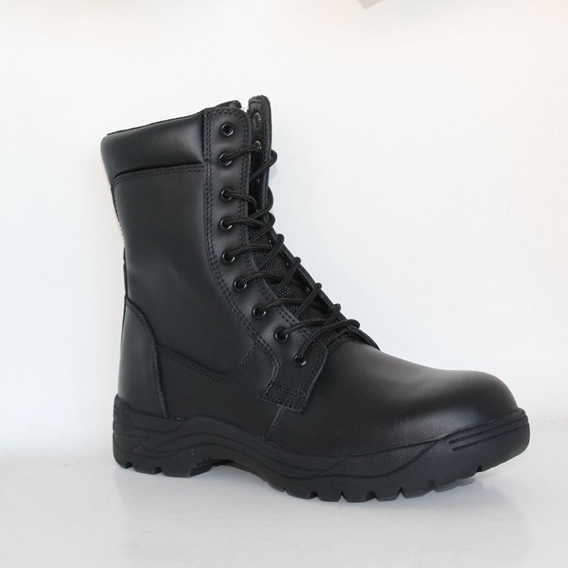 Full Grain Leather Black Military Combat Boots