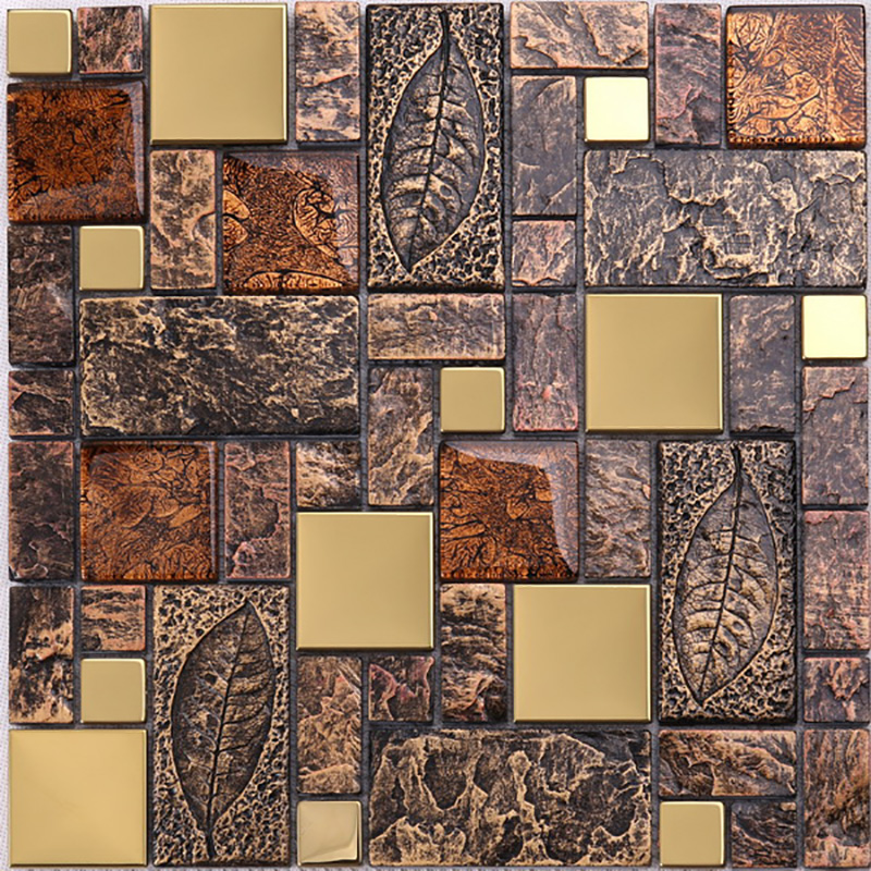 Luxury Bathroom Design Glitter Crystal Glass Mixed Golden Metal Mosaic Tile For Wall Decoration