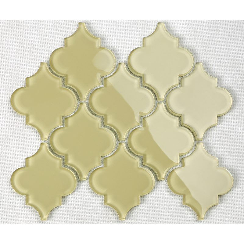 Bright Yellow Lantern Waterjet Arabesque Glass Shower Room Wall Bathroom Mosaic Tile