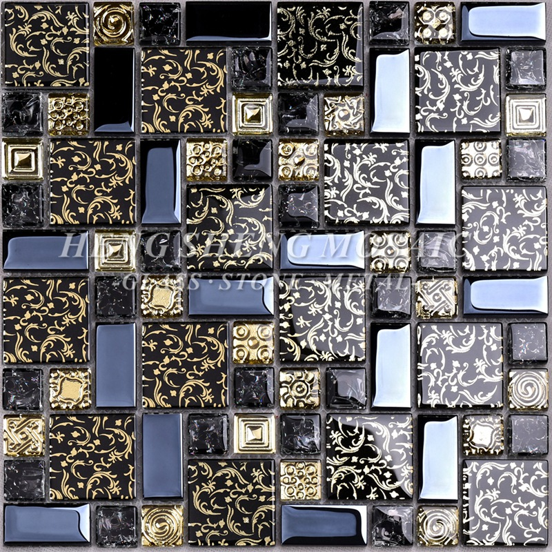 HDT02 Arabesque New Design Gold line Laminated Black Glass Art Flower Mosaic Pattern Tiles for kitchen Backsplash Wall