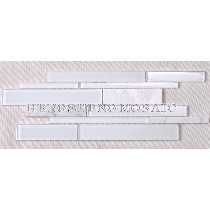 HSD131 Hot Sale Latest Design White Carrara Marble Mixed Glass Mosaic Kitchen Backsplash Subway Tile