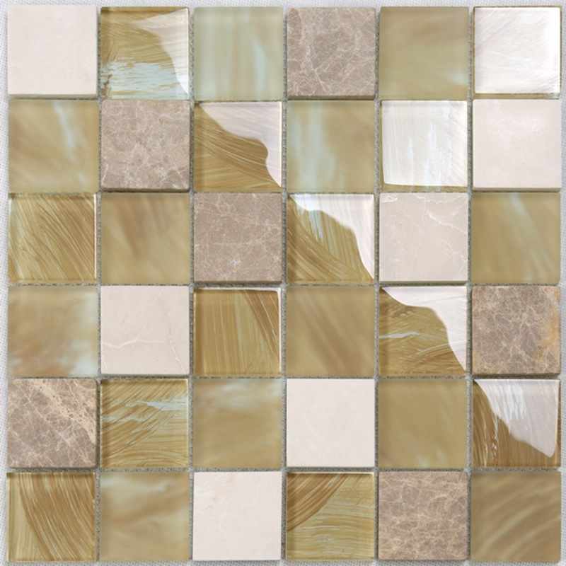 YMS20 Kitchen Wall Decorative Matt Glass Mixed Marble Stone Mosaic Tile Gold