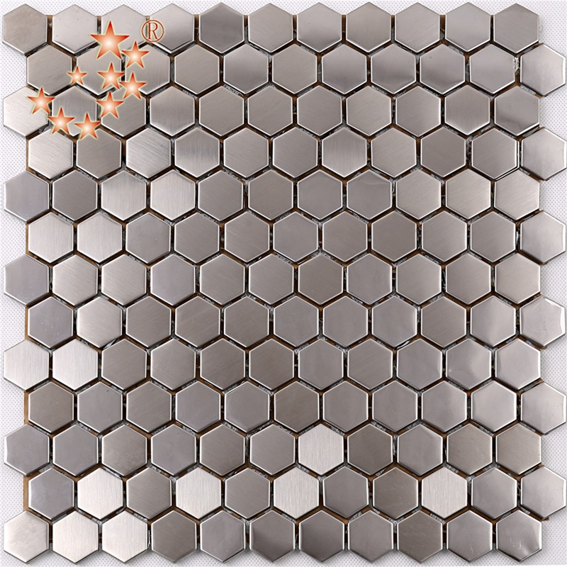 SA16 Premium High Quality Hexagon Stainless Steel Metal Mosaic Kitchen Splash Back Tile
