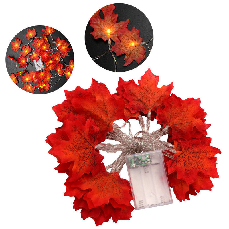 3M Thanksgiving Harvest Maple Leaves Lighted Fall Garland 30 LED String Lights
