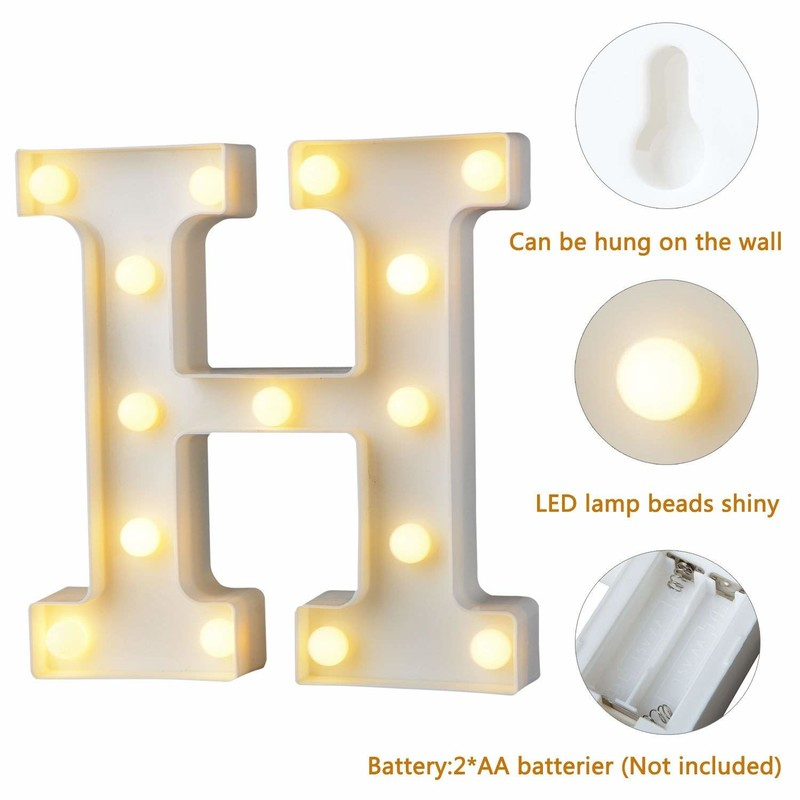 Alphabet Letter Lights LED Light Up White Plastic Letters Standing Hanging A-M &