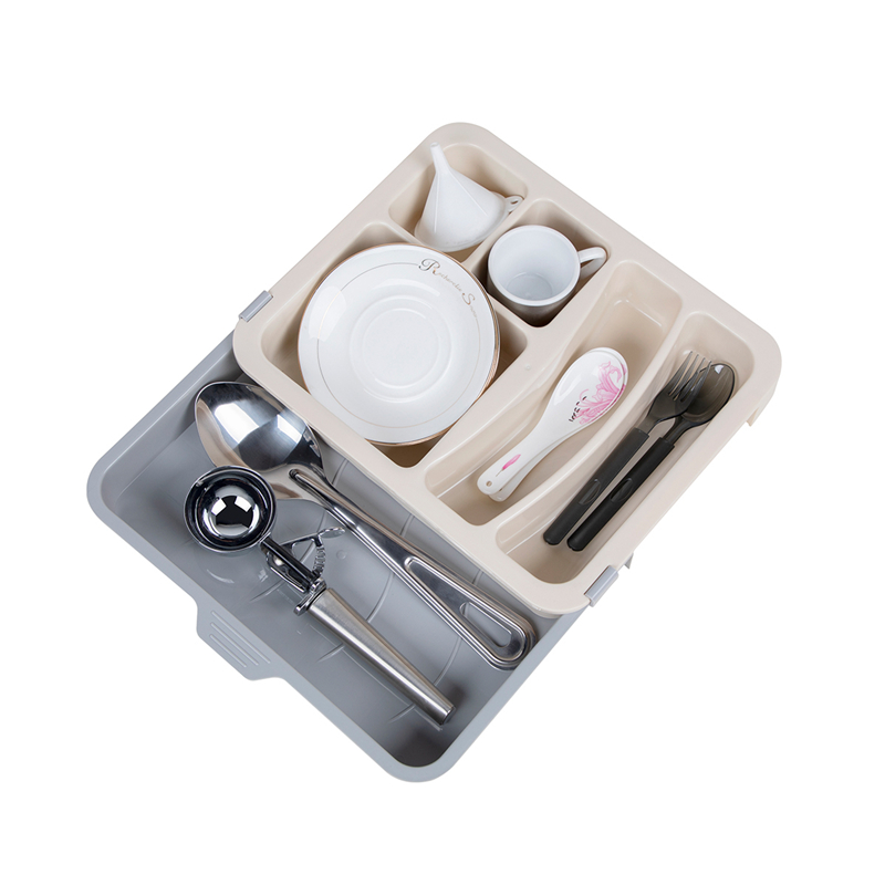 Plastic Kitchen Expandable Cutlery Silverware Utensil Drawer Organizer Trays