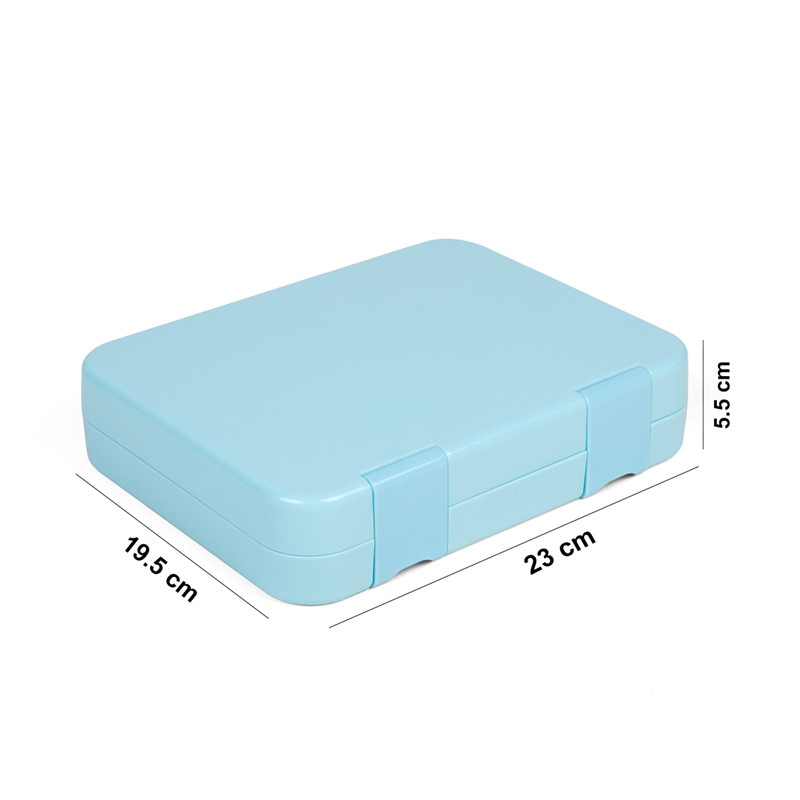 Leakproof Bento Lunch Box Container for Kids and Adults, blue color, 4 compartmets