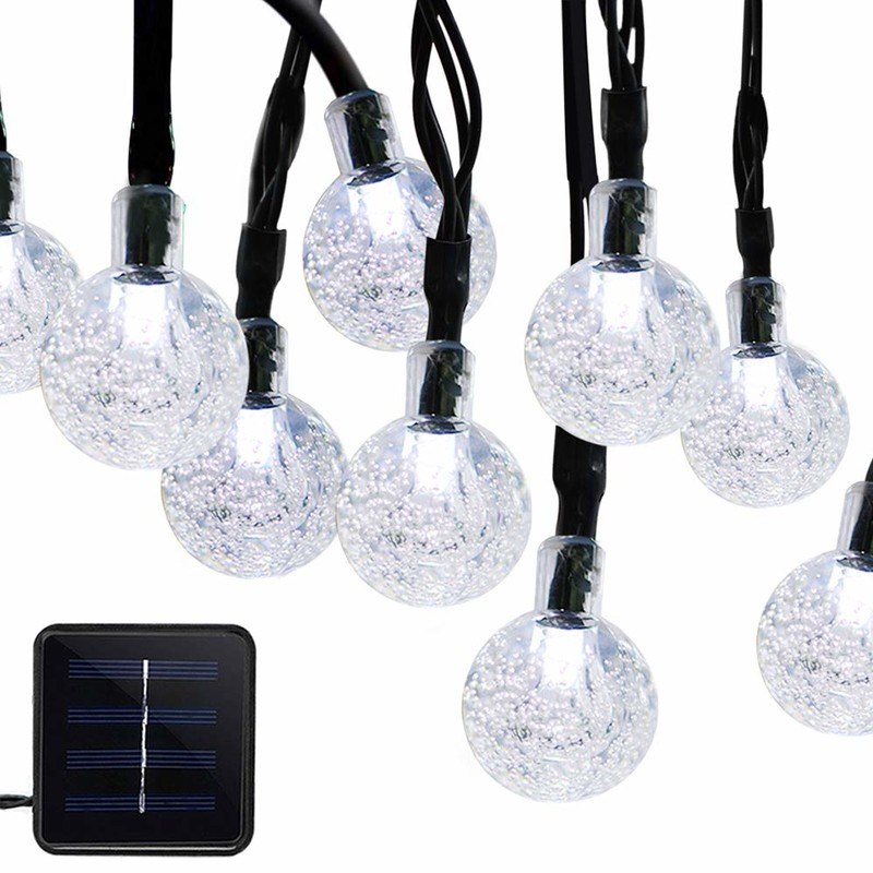 solar lamp string 50 LED bubble crystal sphere 7 m /23 ft 8 mode Christmas fairy lights suitable for outdoor Christmas landscape garden courtyard family holiday path lawn party decorated white lights
