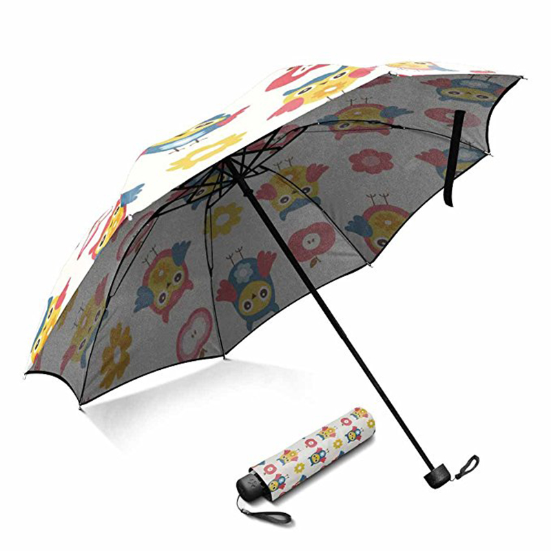 Novelty standard umbrella size custom printing pongee fabric manual open  3 foldable umbrella