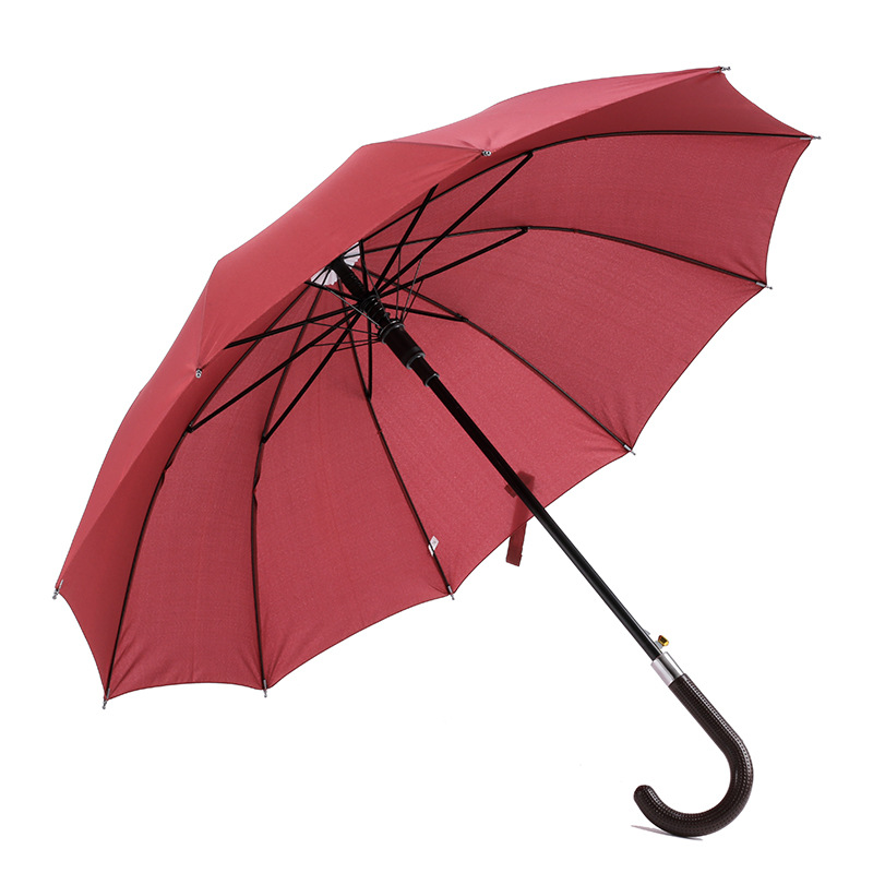 Outdoor custom logo 190T pongeee fabric metal frame J shape handle auto open regular straight umbrella
