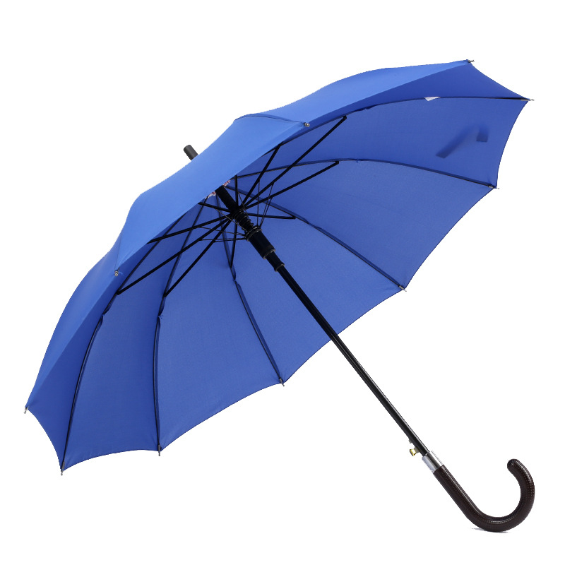 Top quality cheap pongee fabric plastic curved handle straight umbrella auto open