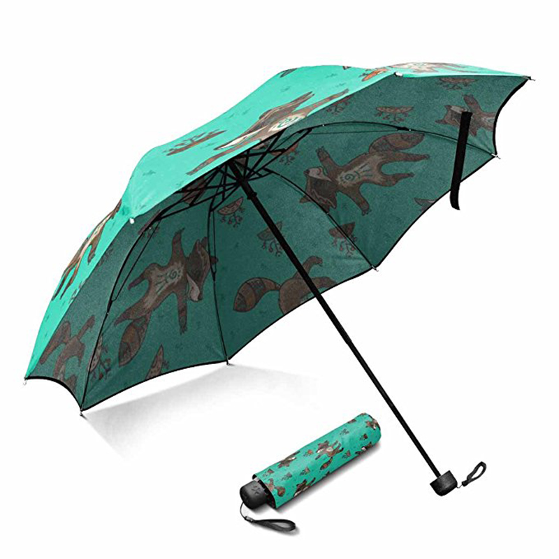 China manufacturer lightweight plastic handle auto open custom cartoon printed 3 foldable umbrella