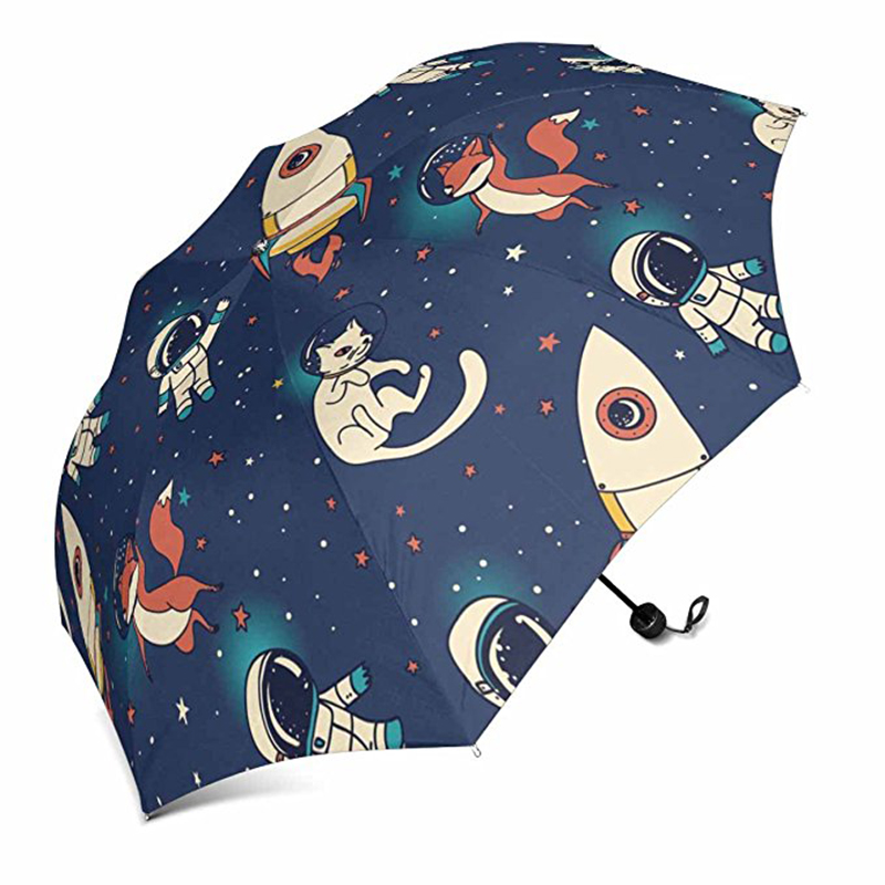 New design promotional custom cartoon pattern 3 folding umbrella