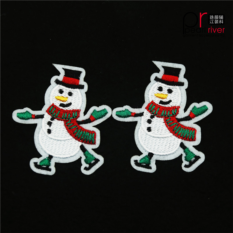 Christmas snowman with green suits embroidered patch