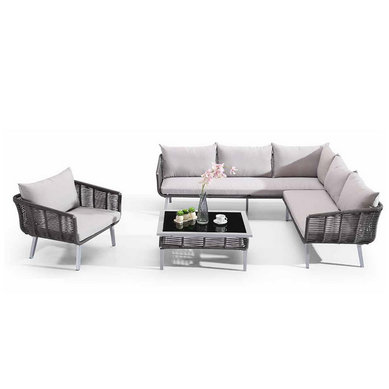 L Shaped Sectional Outdoor Rattan Couch Set