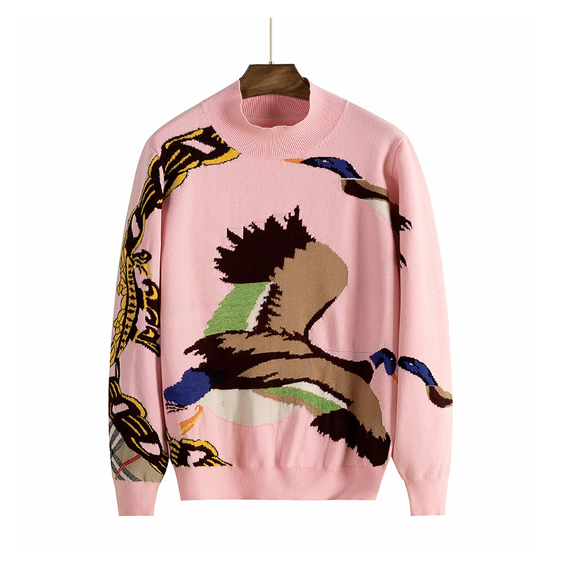 OEM & ODM Custom Logo Jacquard Intarsia Wild Goose Fashion Design Knit Women Pullover Sweater