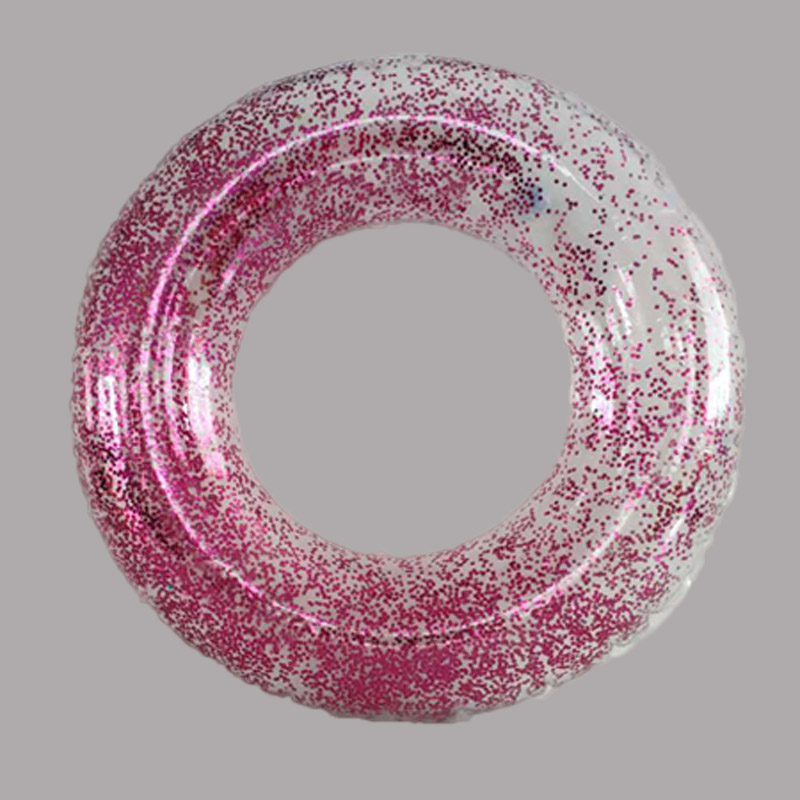Inflatable Transparent Glitter Swim Ring For Kids