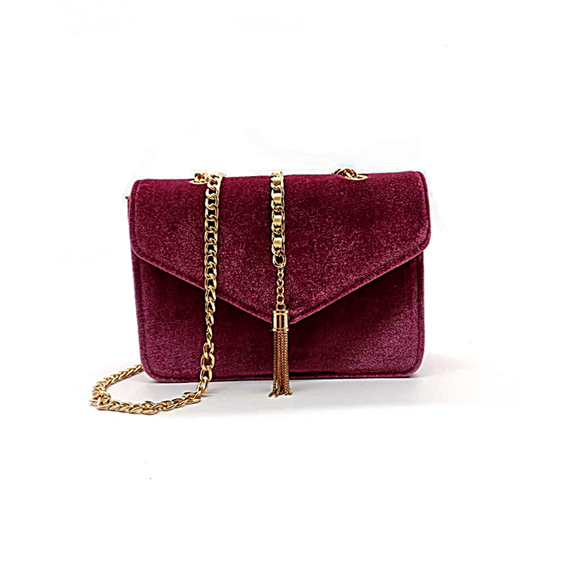 Velvet Material Chain Shoulder Bag Corssbody Bag coloring hand bag customized