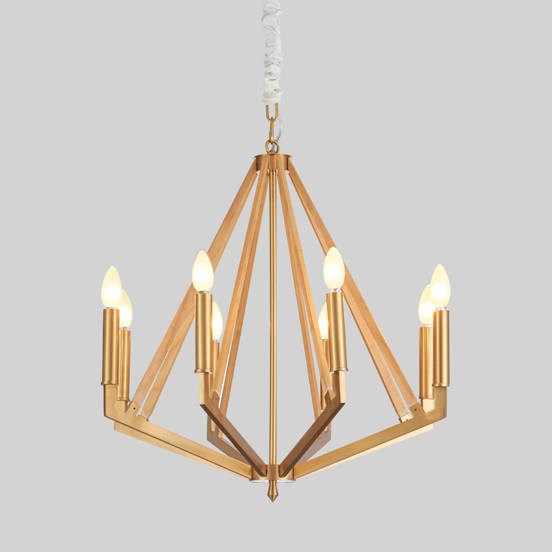 Simple Creative Wood Iron Hotel Home Chandelier Km2122