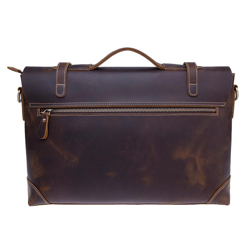 High quality crazy horse genuine leather men laptop messenger bag shoulder bags