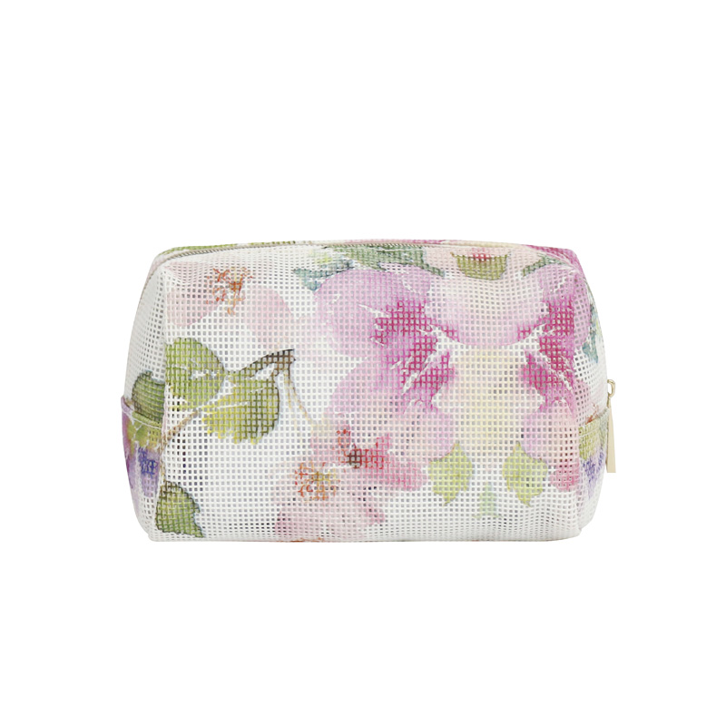 flower painting PVC mesh cosmetic bag
