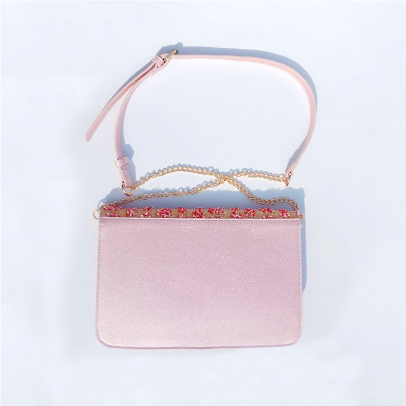 HD0823--Pink Straw Weaving And PU Leather Women Fashion Crossbody Bag