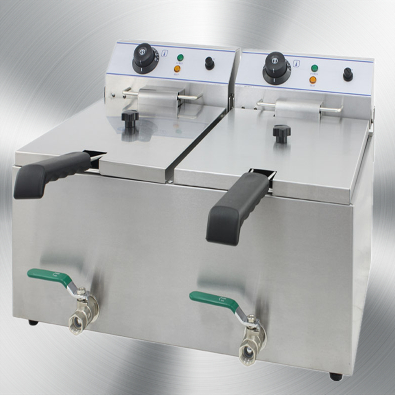 Electric Fryer with Valve two tank