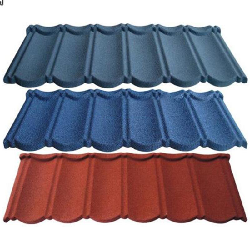Color stone metal tile composition