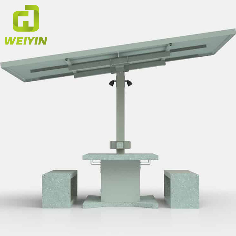 Outdoor Mobile Solar Powered Phone Charging Station AC Grid Table Bench Set for Campus and Hotels