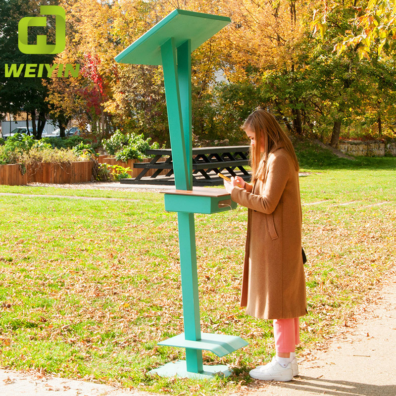 Minimalistic Design Smart Solar Powered USB Mobile Phone Charging Station for Communities and Parks