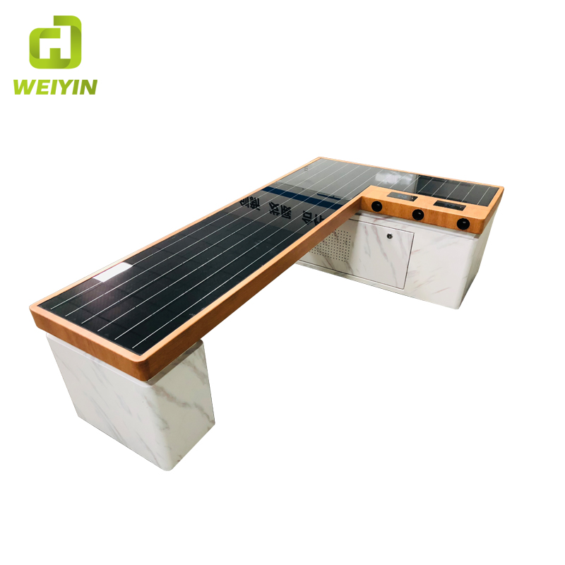 Modern Design Smart Solar Power Phone Charging Furniture Backless Metal Bench for Outdoor