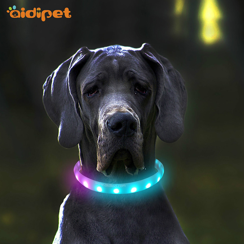 Promotional Colorful USB Rechargeable Flashing Silicone LED Dog Collar