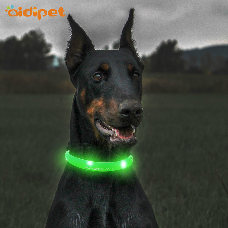Custom Personalized Logo silicone adjustable led Pet Dog Collar Making Supplies