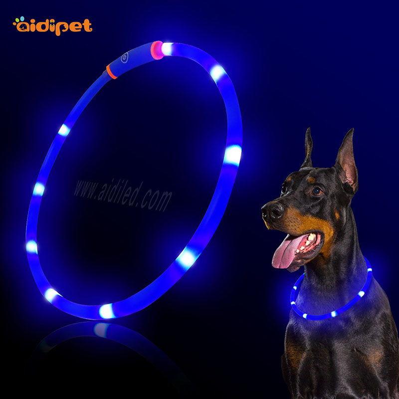 Dog Flashing Led Collar Soft TPR Material USB Rechargeable Super Bright Led Dog Collar Cut to Different Size to Fit Pups