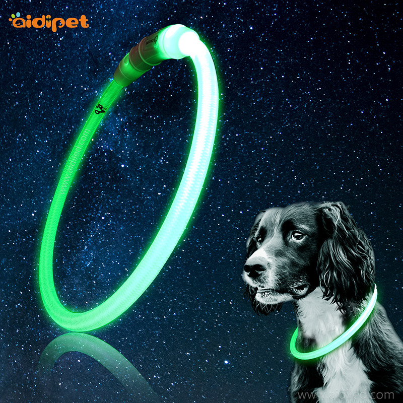 Nylon LED light up dog collar Tubular shape pet necklace cutting freely