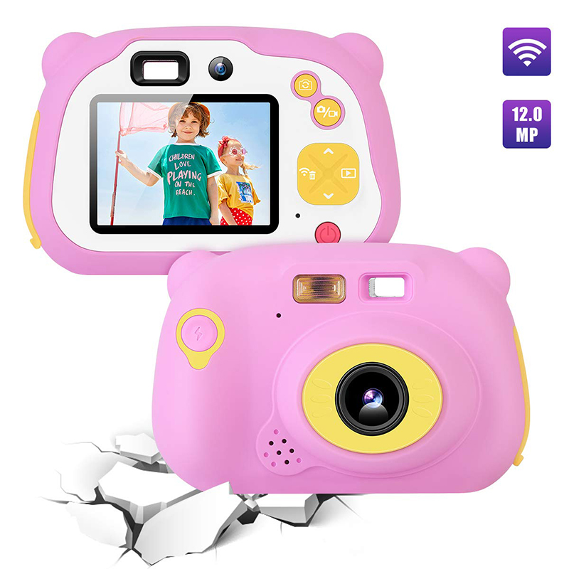 Kids Camera 8.0MP Rechargeable Digital Front and Rear Selfie Camera Child Camcorder, Toys Gift for 4-10 Years Old Boys and Girls