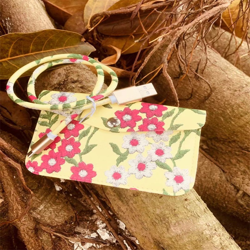 Flower Leather Data Cable with Matching bag