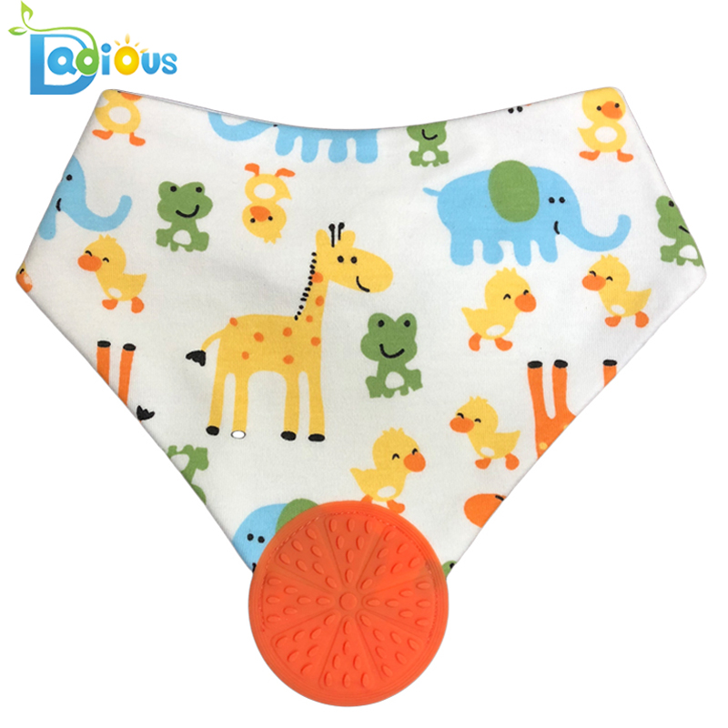 Newest Design BPA Free Bib Chew Bandana Cotton Teether Bandana Bib Baby Bibs for Drooling and Teething