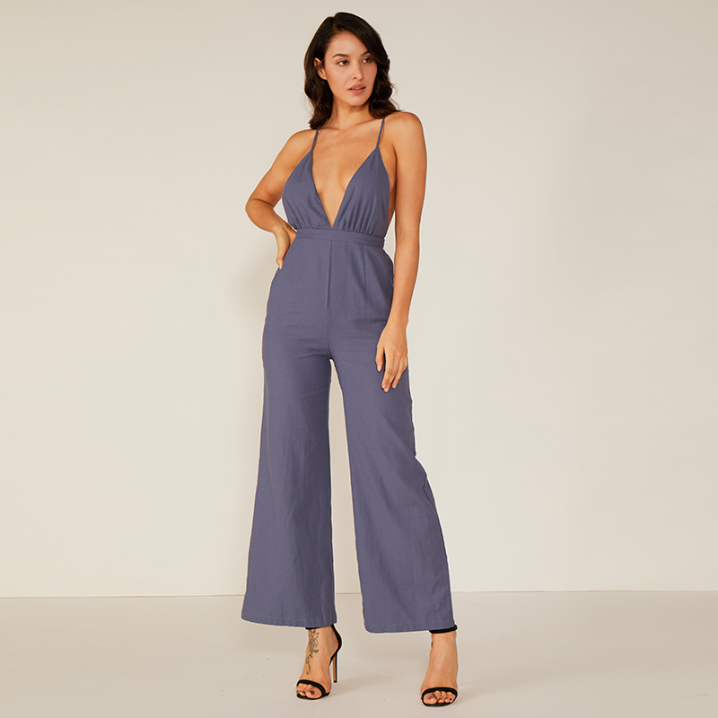 Summer Club Prom Loose Deep V Halter Sexy Jumpsuit