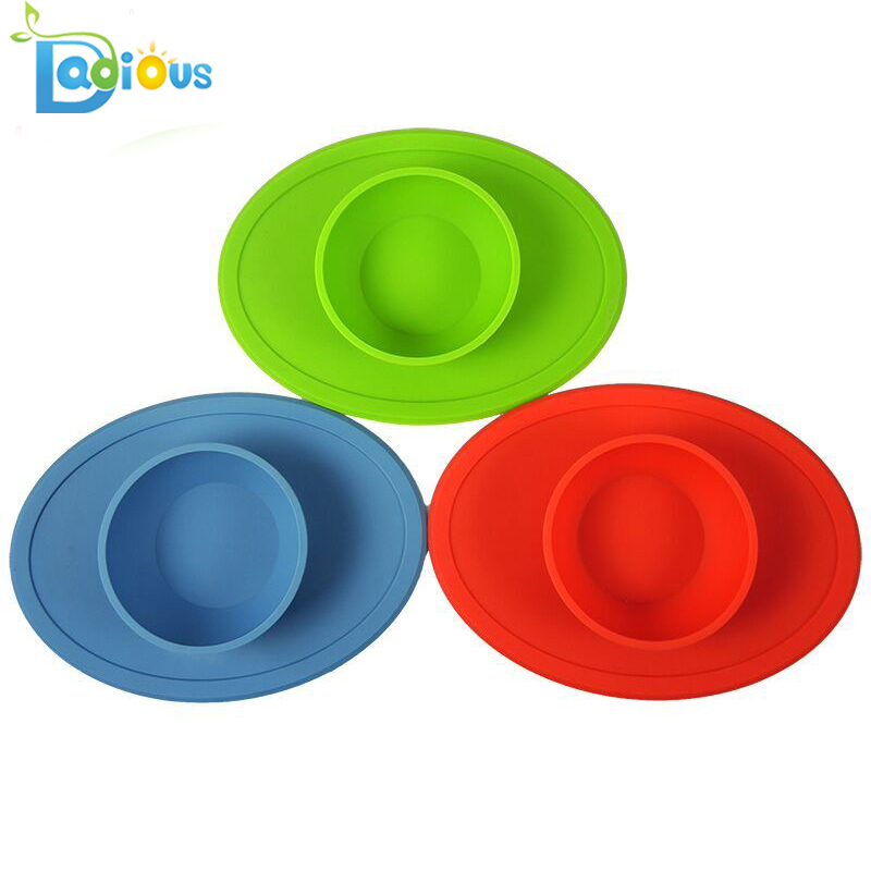 Baby Feeding Set Food Grade Silicone Bowl One-piece Silicone Placemat Suction Baby Bowls