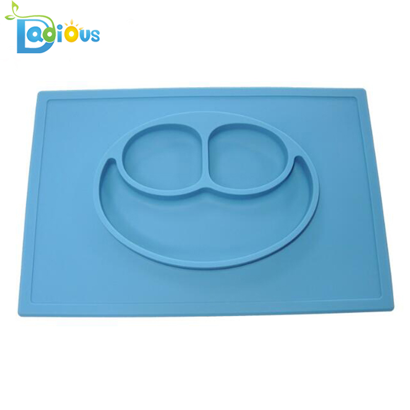 Factory Wholesale One-piece Silicone Placemat for Toddler BPA Free Baby Feeding Silicone Placemat Plate