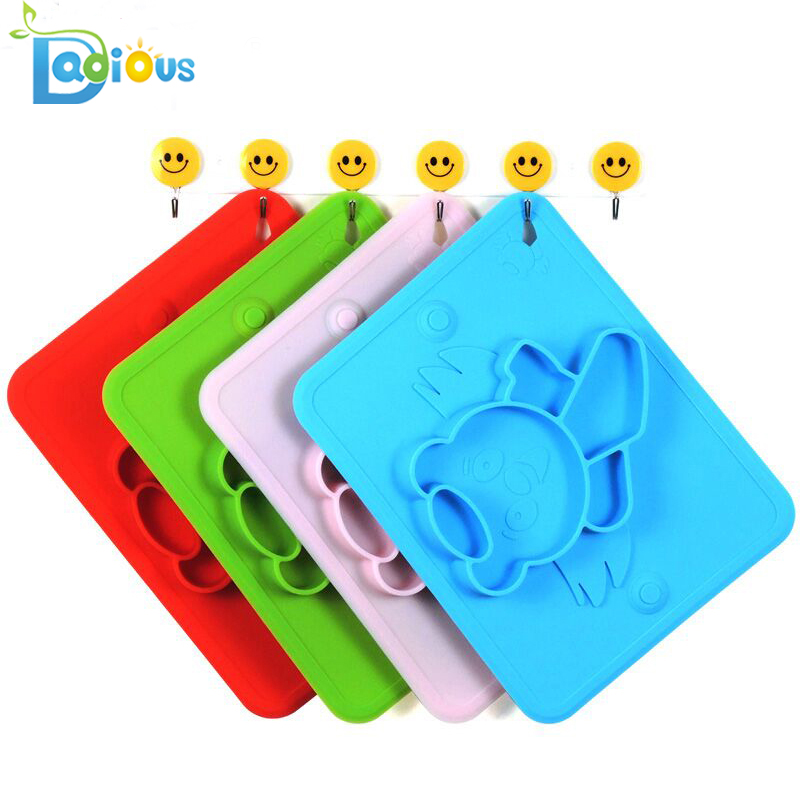 Custom Logo One-piece Silicone Baby Placemat Child Feeding Plate with Suction Cup Fits Most Highchair Trays