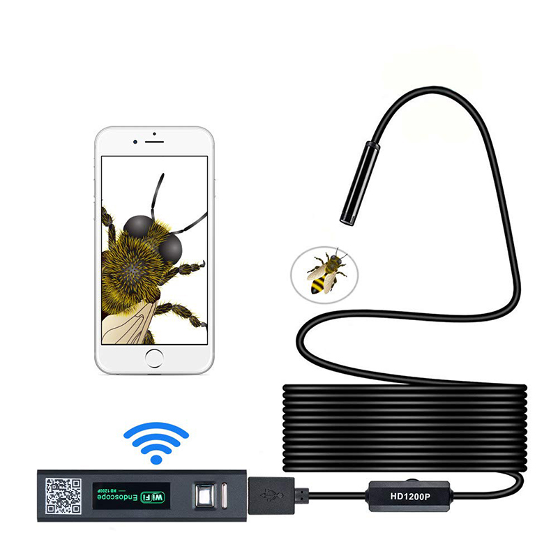 Wireless Endoscope 2.0 Megapixels HD WiFi Borescope USB Interface Waterproof Inspection Snake Camerafor Android, iOS and Windows, iPhone, Samsung, Tablet, Mac