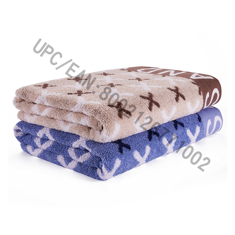 JMD TEXTILE Bathroom Towel Set, 4 Pieces British Style Jacquard Towel,Large Bath Towels 100% Cotton,Suitable for Pool, Gym, Hotel,Travel,College Dorm Room Accessories,Brown and Blue (Blue-red, 4)