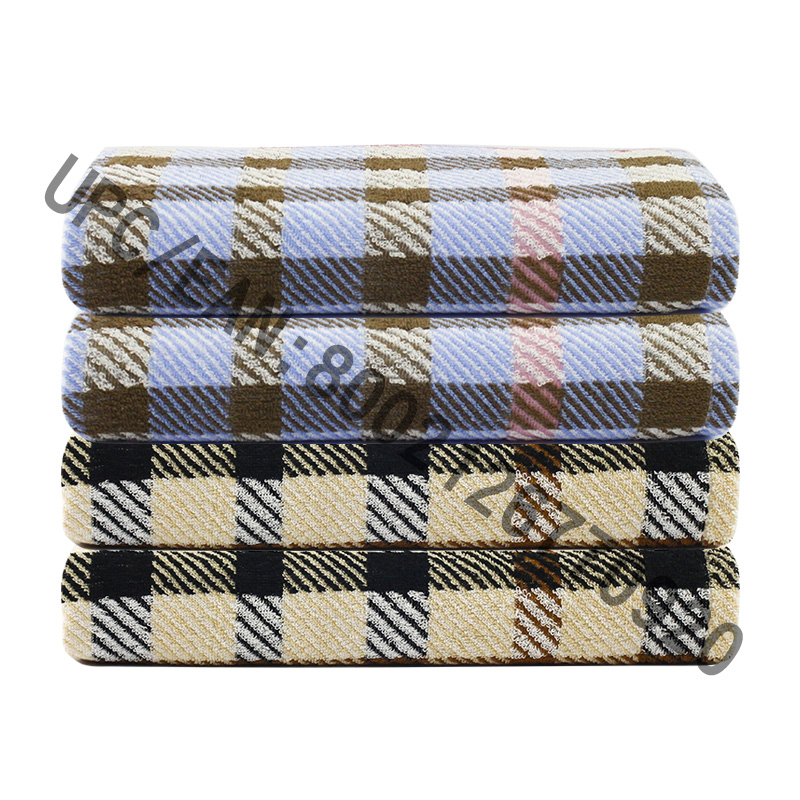 JMD TEXTILE Bathroom Towel Set, 4 Pieces British Style Plaid Jacquard Towel,Large Bath Towels 100% Cotton,Bath Towel Pool Gym Hotel Travel,College Dorm Room Accessories,Towel Brown Towel Blue